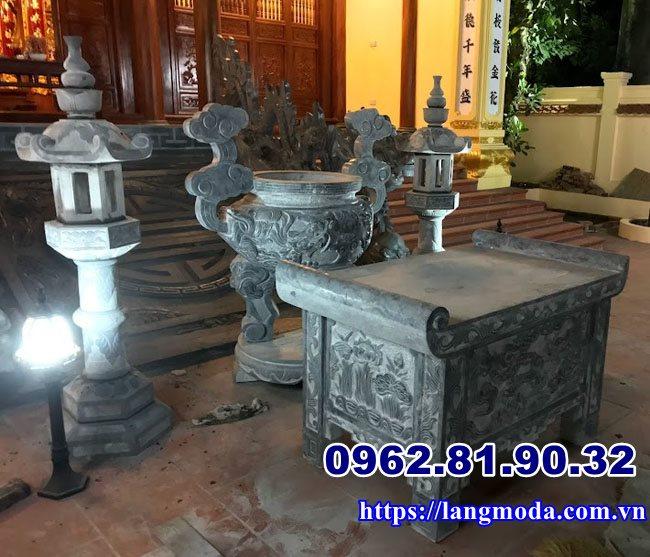 Lư hương đèn thờ bàn lế đá ngoài trời tại Hải Phòng