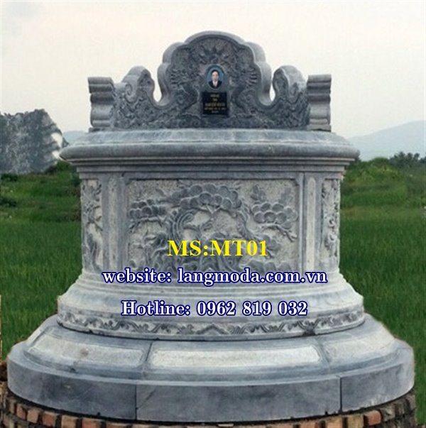 Mẫu mộ đá tròn đẹp bằng đá khối