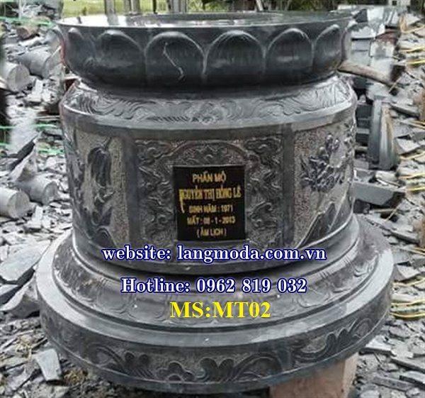 Mẫu mộ tròn đẹp làm bằng đá khối