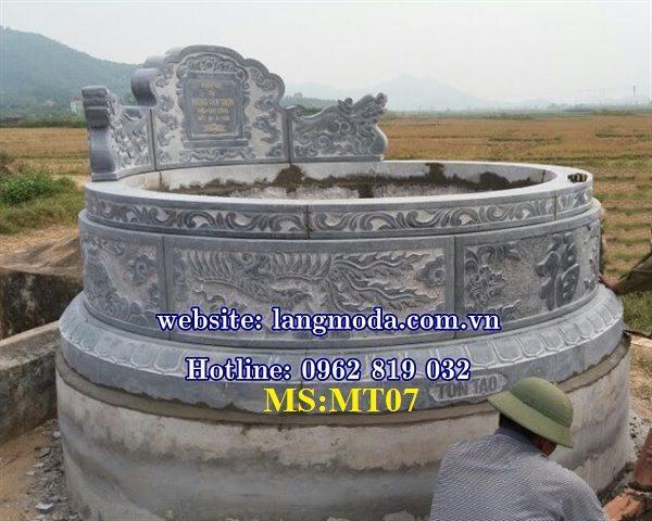 Mẫu mộ tròn đẹp bằng đá khối