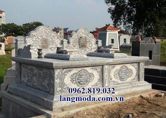Mẫu mộ đôi đẹp bằng đá khối