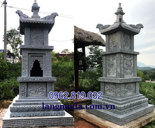 Xây mẫu mộ hình tháp phật giáo đẹp bằng đá