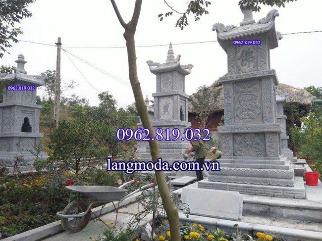 Lắp đặt lăng mộ tháp đá phật giáo Vĩnh Phúc