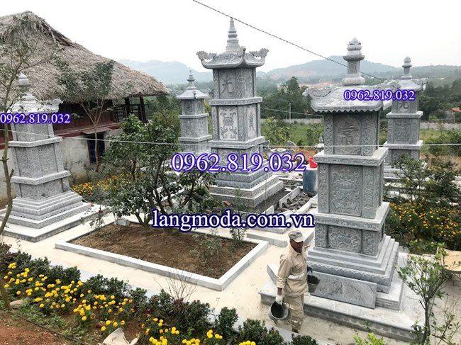 Lắp đặt Mộ tháp đá phật giáo tại Vĩnh Phúc