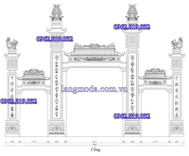 Bản vẽ thiết kế kích thước cổng đá nhà thờ họ tại Vĩnh Bảo - Hải Phòng