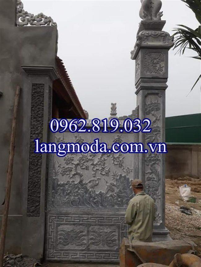 Mua mẫu cột đá đồng trụ nhà thờ họ đẹp giá rẻ ở đâu 01, Cột đá vách nhà thờ họ