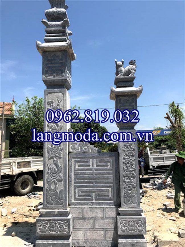 Mua mẫu cột đá đồng trụ nhà thờ họ đẹp giá rẻ ở đâu 011, mẫu cột cổng đá nhà thờ họ từ đương