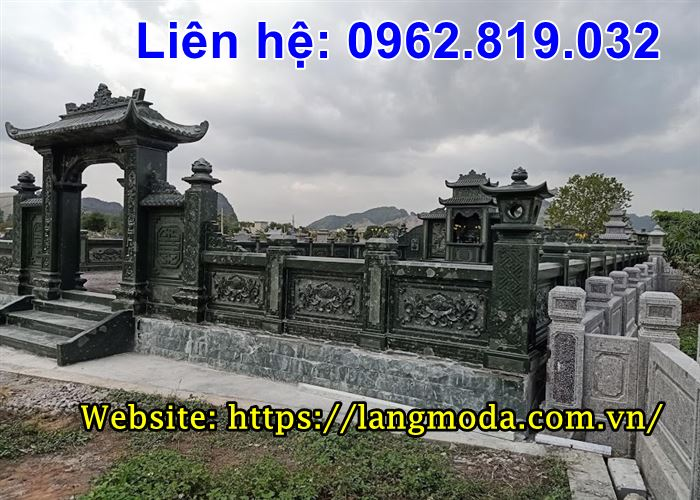 Mẫu lăng mộ đá xanh rêu đẹp cao cấp 29