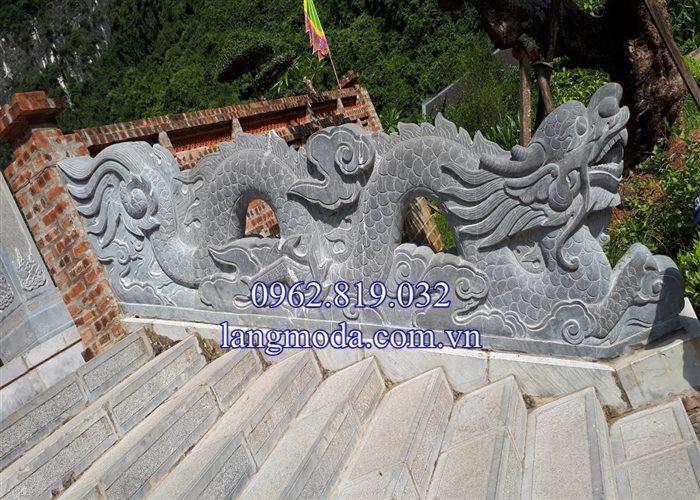 Mẫu lan can rồng đá bậc thềm tam cấp nhà thờ họ đình chùa 01