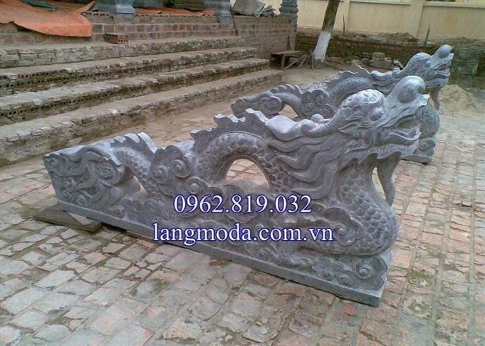 Mẫu lan can rồng đá bậc thềm tam cấp nhà thờ họ đình chùa 03