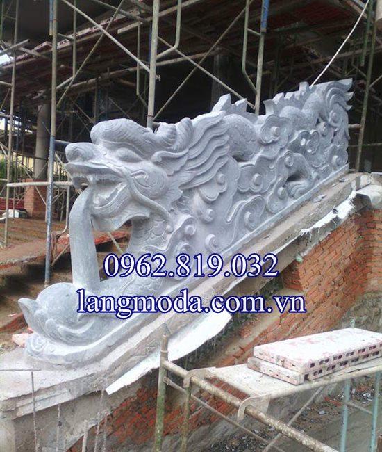 Mẫu lan can rồng đá bậc thềm tam cấp nhà thờ họ đình chùa 05