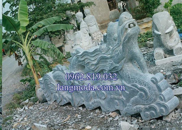 Mẫu lan can rồng mây đá bậc thềm tam cấp nhà thờ họ đình chùa 07