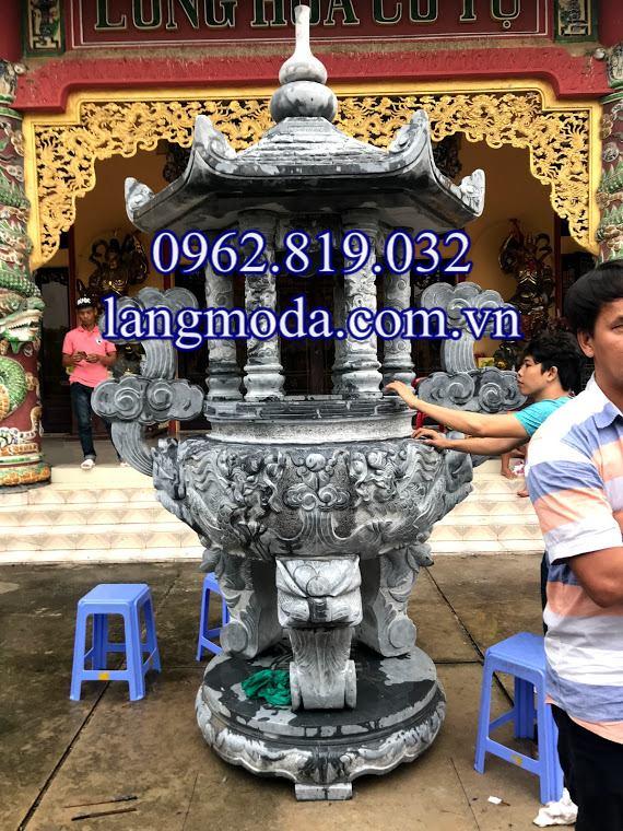 Lắp đăt hoàn thiện lư hương đá tại chùa Long Hoa Tự Sài Gòn , Lắp đặt lư hương đá xanh tại Chùa Long Hoa Cổ Tự Sài Gòn