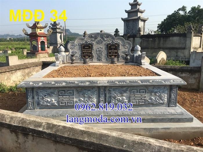 51 Mẫu mộ đôi đẹp đơn giản bằng đá xanh 23, Mộ đá đôi, Mộ đôi đẹp