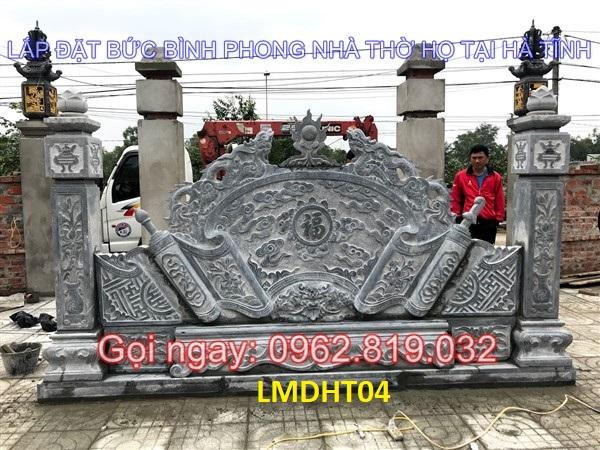 Lắp đặt bức bình phong ngoài trời bằng đá đẹp kích thước 342cm giá rẻ tại nhà thờ họ Lê Hà Tĩnh