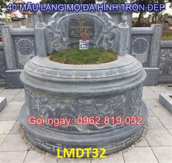 Mẫu lăng mộ đá hình tròn đẹp kích thước Lỗ Ban phong thuỷ giá rẻ