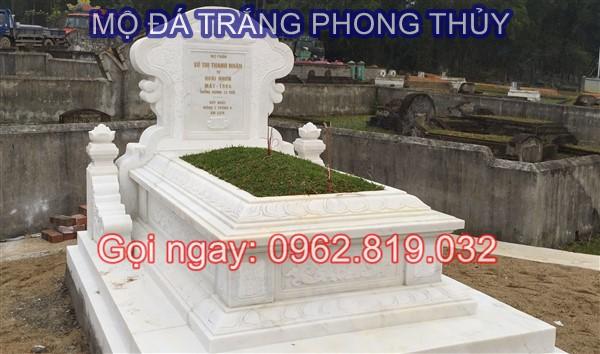 Mẫu lăng mộ đá trắng đẹp phong thủy cho người mệnh Kim và mệnh Thủy