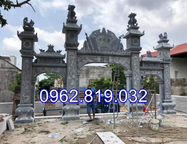 18 Mẫu cổng nhà thờ họ đẹp bằng đá khối tự nhiên 002