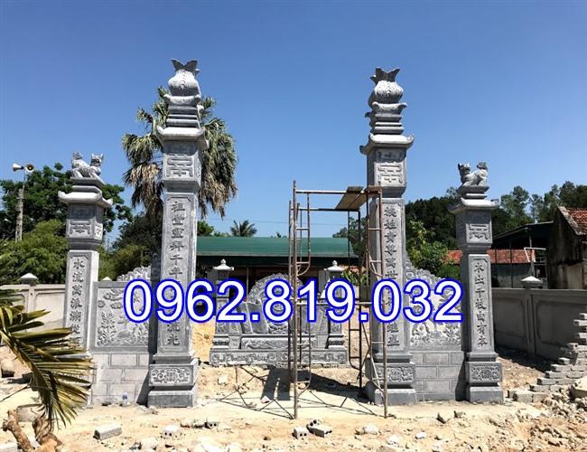 18 Mẫu cổng nhà thờ họ đẹp bằng đá khối tự nhiên 003