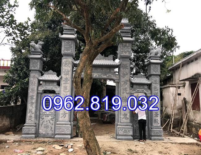 18 Mẫu cổng nhà thờ họ đẹp bằng đá khối tự nhiên 006