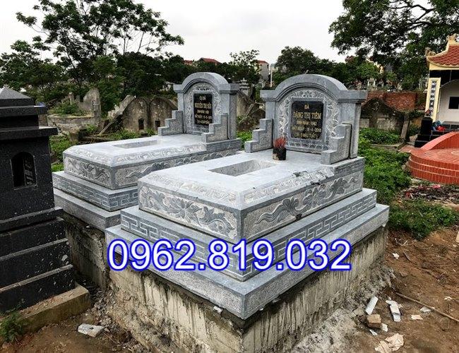 Mẫu mộ đôi đẹp đơn giản để tro cốt cho ông bà cha mẹ bằng đá khối, Mộ đá đôi , Mộ đôi bằng đá