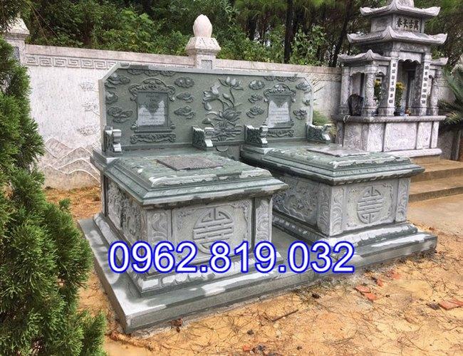 Mẫu mộ đôi đẹp đơn giản để tro cốt cho ông bà cha mẹ bằng đá khối, Mẫu mộ đôi đẹp đơn giản