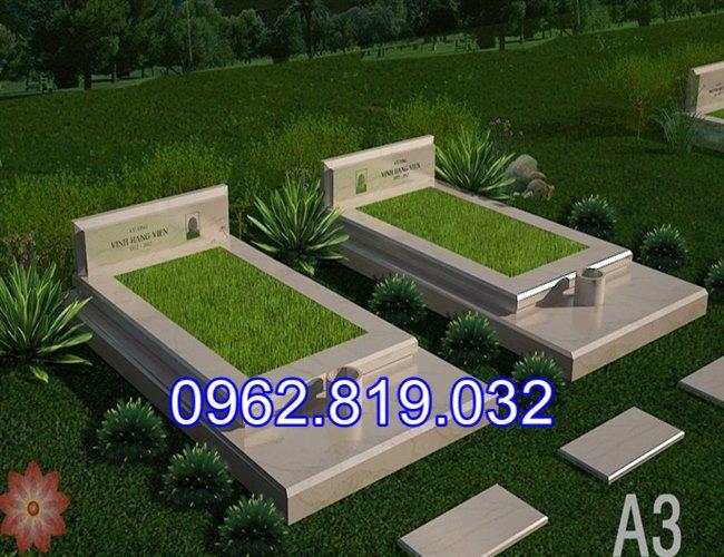 Mẫu mộ đôi đẹp đơn giản để tro cốt cho ông bà cha mẹ bằng đá khối,