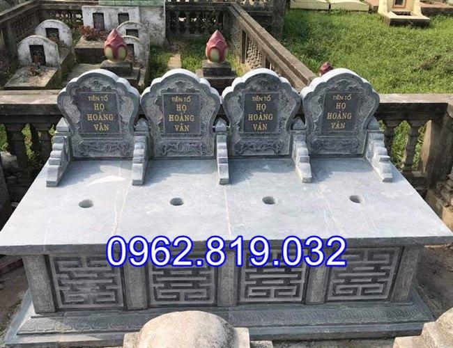 Mẫu mộ đôi đẹp đơn giản để tro cốt cho ông bà cha mẹ bằng đá khối, Mộ đá đôi