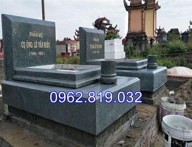 Mẫu mộ đôi cao cấp hiện đại đơn giản bằng đá xanh rêu MDCC05