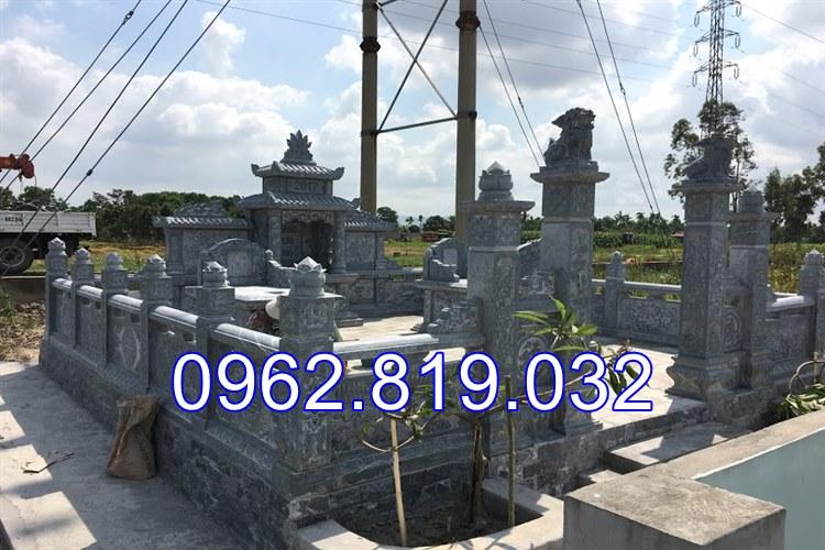 Lăng mộ đá xanh khối cao cấp tại Thái Bình, lăng mộ đá