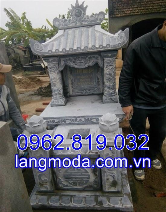 Mẫu mộ đơn đẹp bằng đá khối điêu khắc tại Ninh Bình