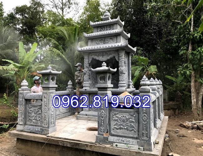 Xây khu lăng mộ gia đình đẹp bằng đá khối cap cấp 03, khu mộ gia đình, xây mộ gia đình