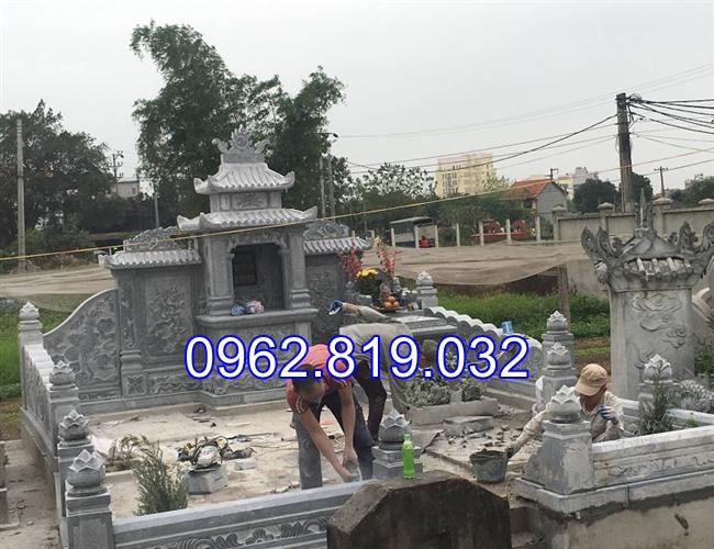 Xây khu lăng mộ gia đình đẹp bằng đá khối cap cấp 07