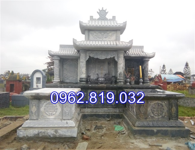 Xây khu lăng mộ gia đình đẹp bằng đá khối cap cấp 08
