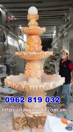 Mẫu đài phun nước biệt thự đá vàng - Đài phun nước bằng đá