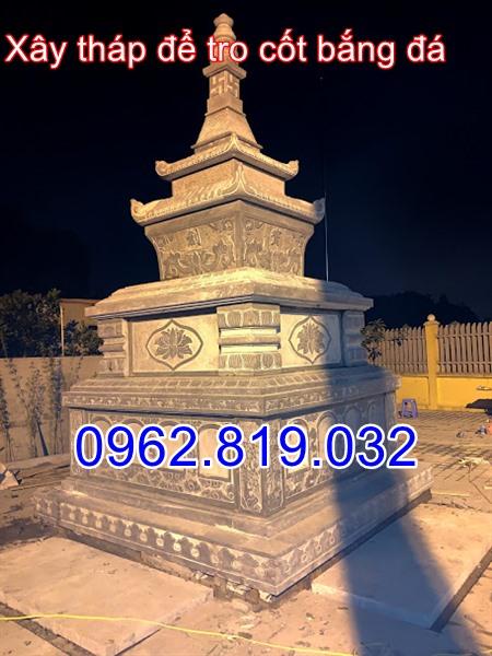 Xây tháp để tro cốt bằng đá tại Sóc Sơn Hà Nội