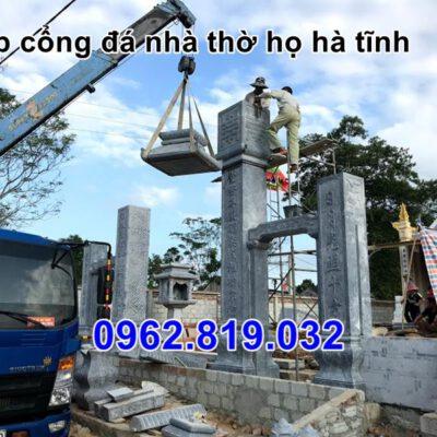 Lắp đặt cổng tam quan đá nhà thờ họ tại Hà Tĩnh