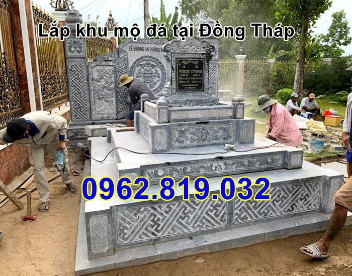 Lắp lăng mộ đá tại Đồng Tháp - Khu nhà mồ đẹp bằng đá tại Đồng tháp