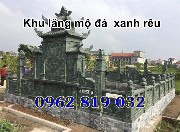 Khu lăng mộ gia tộc mẫu nhà mồ đẹp bằng đá xanh rêu