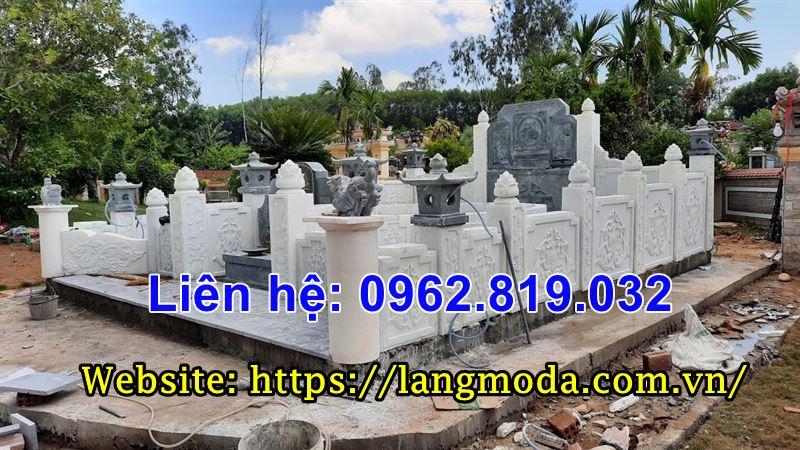 Xây khu lăng mộ gia đình đẹp bằng đá trắng