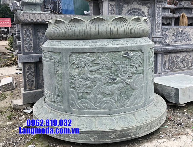 mẫu mộ tròn đẹp bằng đá xanh rêu