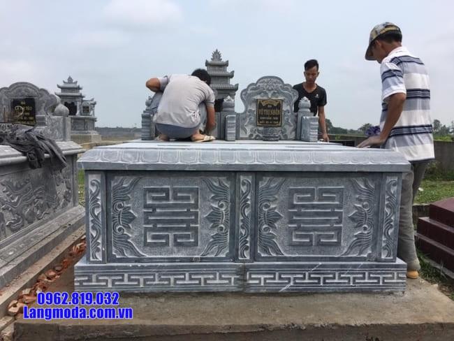 mộ đôi đá xanh đẹp