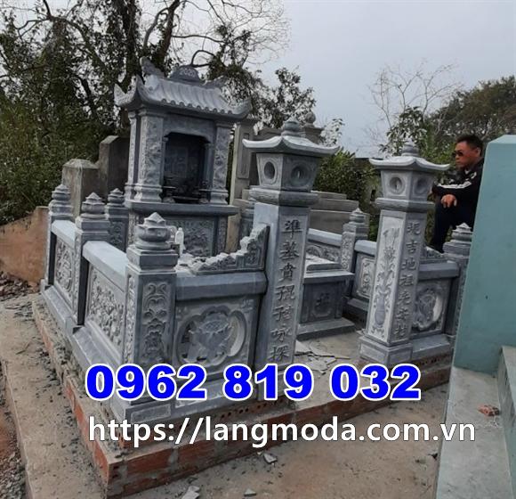Mẫu khu lăng mộ đá mồ mả đẹp bằng đá xanh đen- Xây mả đẹp tại Hưng Yên