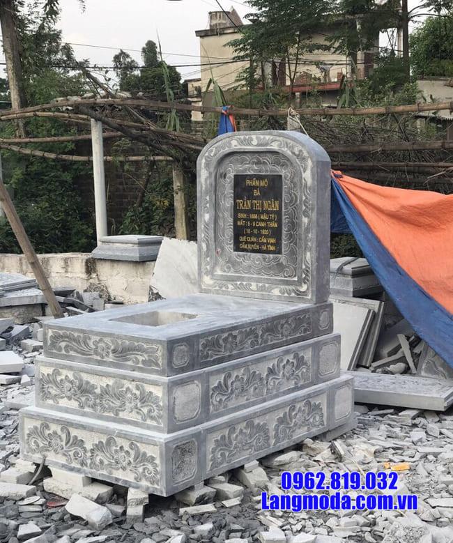mẫu mộ tam cấp bằng đá xanh thanh hóa