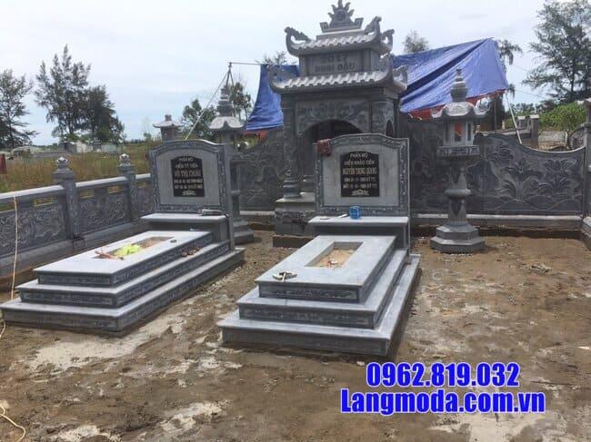 mộ tam cấp bằng đá xanh thanh hóa đẹp