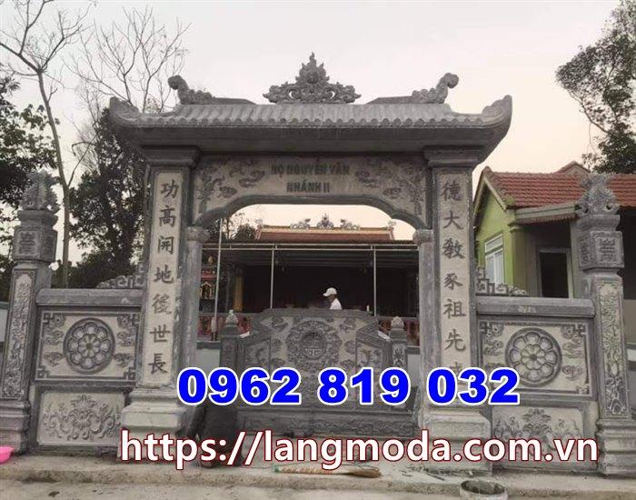 Mẫu cổng nhà thờ họ đẹp đơn giản tại Vĩnh Phúc- Mẫu cổng từ đường bằng đá tại Vĩnh Phúc