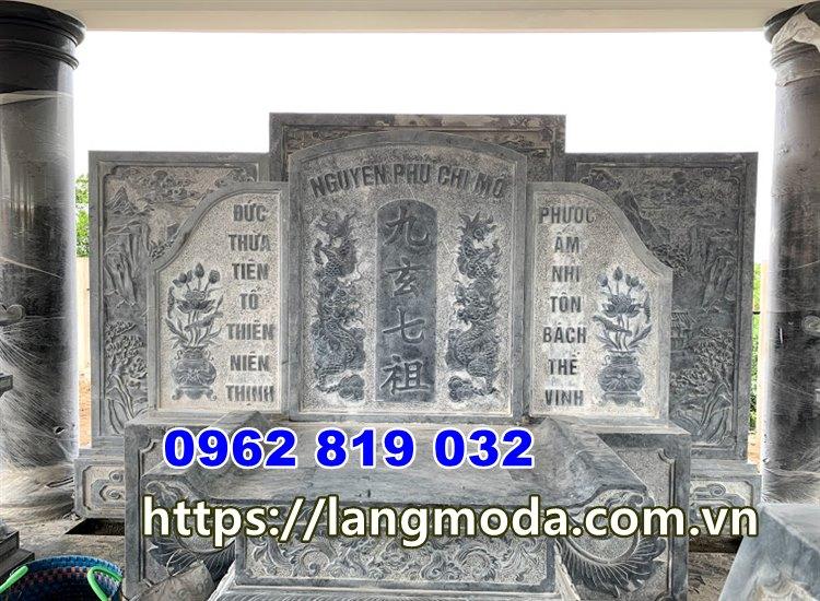 Bình phong lăng mộ cuốn thư đá lăng mộ tại đồng tháp