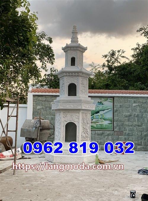 Mẫu tháp mộ đẹp để tro cốt đá trắng tại Nha Trang Khánh Hòa