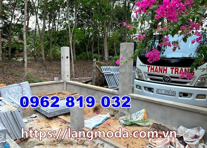 Khâu vận chuyển lắp tháp mộ đá tại Tây Ninh