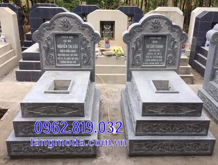 mộ đôi bằng đá đẹp tại Hậu Giang 3